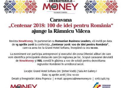Centenar 2018: 100 de idei pentru România ajunge pe 19 aprilie la Râmnicu Vâlcea